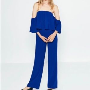 Zara Woman Off the Shoulder Ruffle Blue Jumpsuit